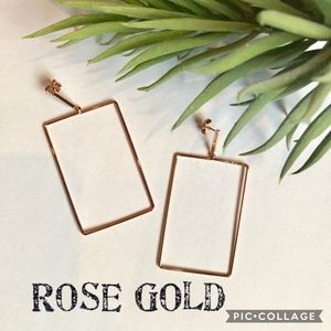 New! Rose Gold Rectangle Earrings
